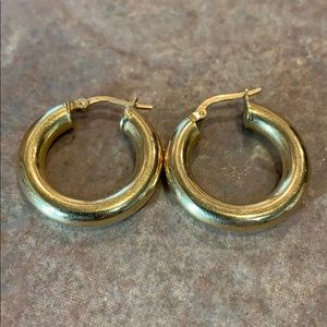 Jewelry - Yellow gold 18k 750 vintage one inch thick hoops